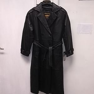 Women's long leather coat